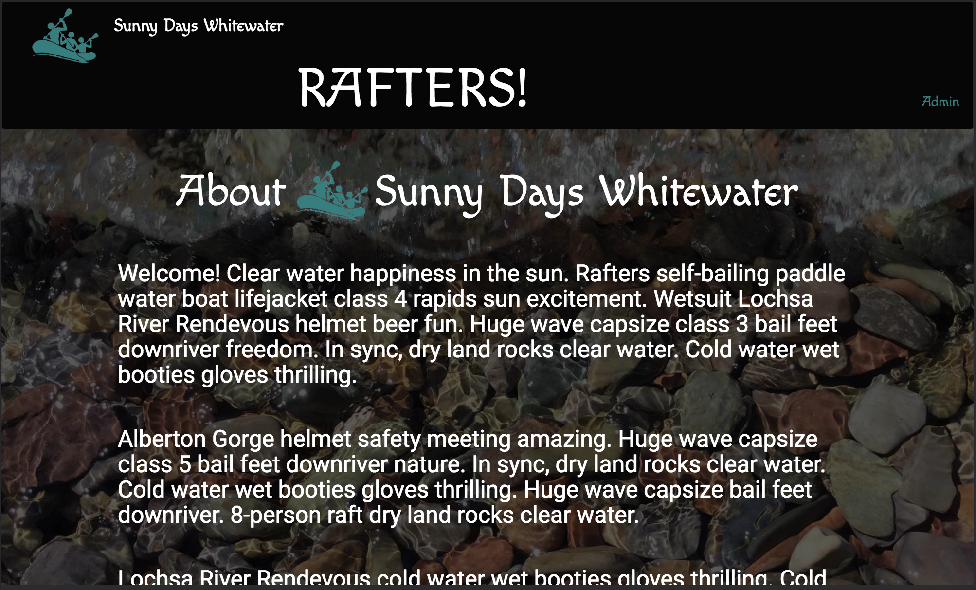 JavaScript/Angular 2/Firebase: Sunny Days Whitewater